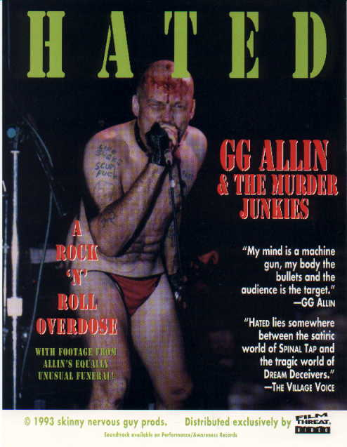 vintage GG Allin Hated promotional color flyer!