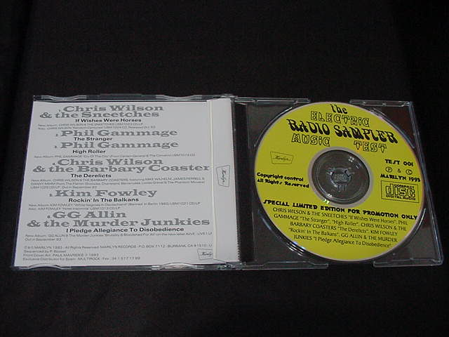 GG ALLIN PROMO CD