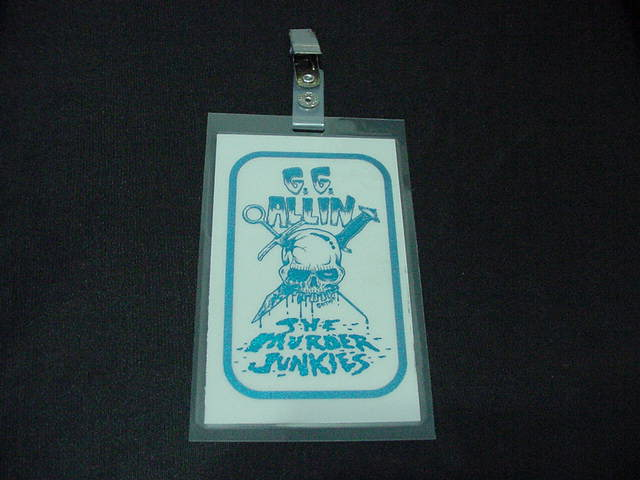 vintage GG Allin BLUE Laminated Backstage Pass version #3