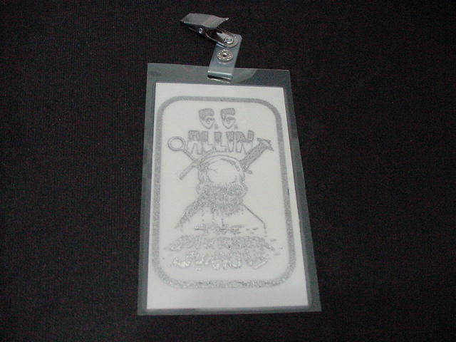vintage GG Allin SILVER Laminated Backstage Pass version #3