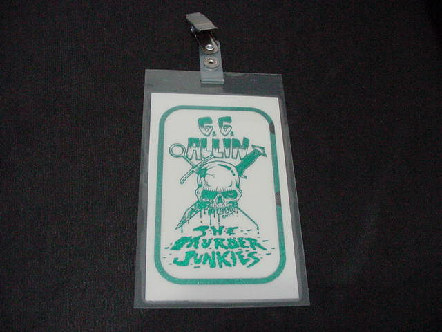 vintage GG Allin BLUE/GREEN Laminated Backstage Pass version #3