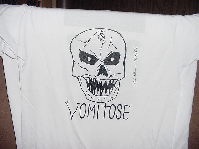 VOMITOSE Richard Ramirez Skull white T-SHIRT