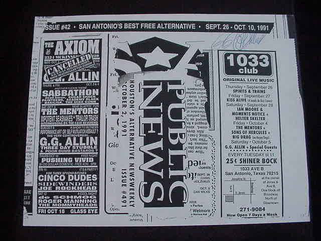 vintage GG Allin autographed Xerox cancelled San Antonio, TX gig  Flyer!