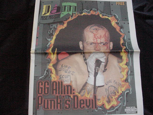 Jam Music Magazine from June 1999 feturing GG Allin on the cover