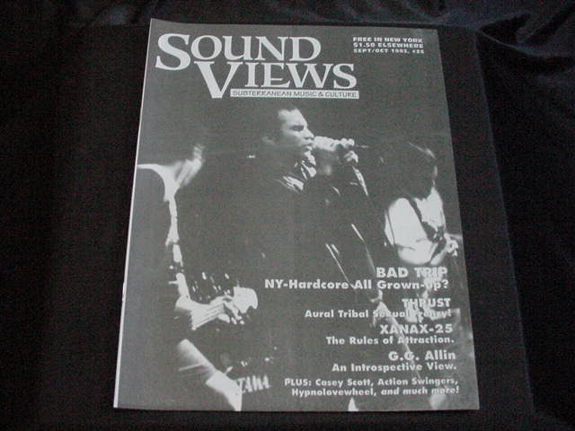 SOUND VIEWS Magazine from Sept. 1993 featuring GG Allin mention on the cover