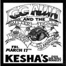 GG ALLIN & THE DISAPPOINTMENTS at KESHA'S, BERKELEY, CA MARCH 17, 1989 CD.