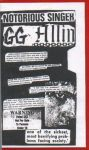 GG Allin Prelude To Destruction VHS Home Video tape