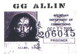 GG ALLIN michigan ID STICKER