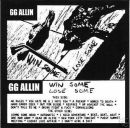GG ALLIN WIN SOME, LOSE SOME 1979 - 1980 CD.