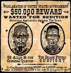 DUANE PETERS GUNFIGHT / GG ALLIN split 7� e.p. (UK-only version)